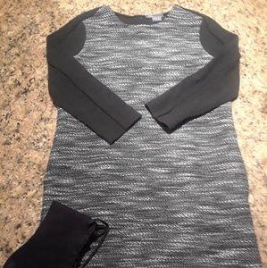Vince b/w high low long sleeve dress